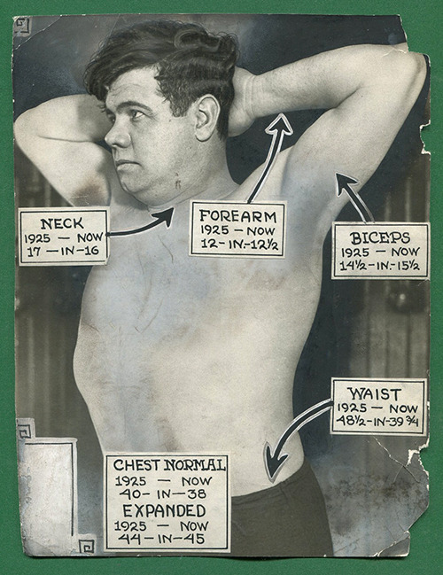 baberuthfan:  A diagram of Babe's body from 1926.  The real Vitruvian man.