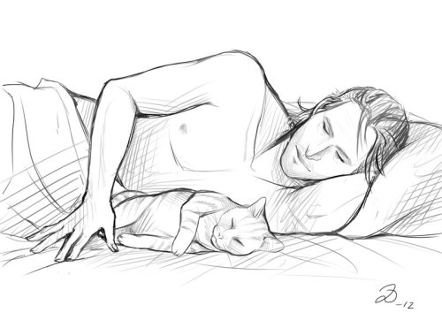 amy-on-the-web:  Dragon Age - Sleepy Kitties by ~YumiKoyuki