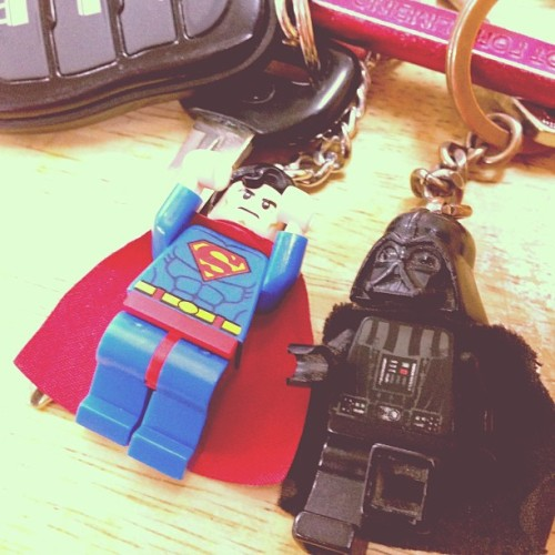 My trusty super-buddies keeping my keys safe! #superman #darthvader #lego