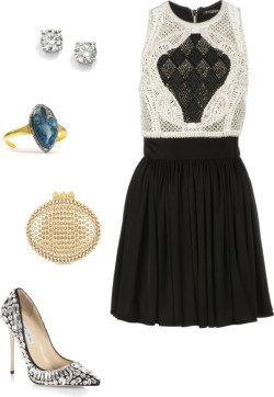 PB by jamilcedenoc featuring alexis bittarBalmain short dress / Jimmy Choo  / Christian Louboutin , $1,775 / Saks Fifth Avenue white gold jewelry / Alexis Bittar