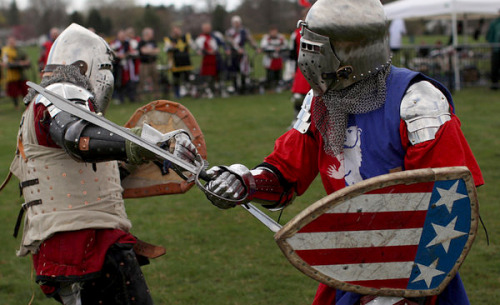 "Hmmm, would you call this a recreational LARPing league? The next step after quidditch? laphamsquarterly:  This year, we're thinking the media softball league should take a different angle…. ""Weapons must be blunted. Stabbing or thrusting, which Brooks defined as repeatedly delivering excess force to the same point of contact, is not allowed. Fighters can hit any region in the ""kill zone,"" which excludes the feet, back of knees, groin, back of neck and base of skull. Vertical strikes to the spine and horizontal strikes to the back of the neck are forbidden. Injuries have included dislodged teeth and broken or severed fingers."" (via Battle of the Nations, a Holy Grail of Battle Re-enactments - NYTimes.com)"
