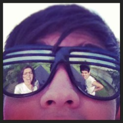 Love these two 😎😜 #glasses #lmfao #reflection #friends4ever #trust #tbt #me #closeup #liveitup #cute #bold #hair #fun #shades #chill #smoke #laughing #lovethem #rulebreaker #oldladyonbike #kick
