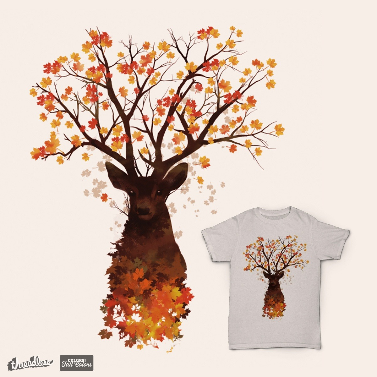 """Autumn is just around the corner, and """"Into the Woods"""" by Dan Elijah Fajardois currently the highest scoring design in our Fall Colors design challenge! Artists, fall into the world of bonfires, changing leaves, and apple cider and submit to this design challenge!"""