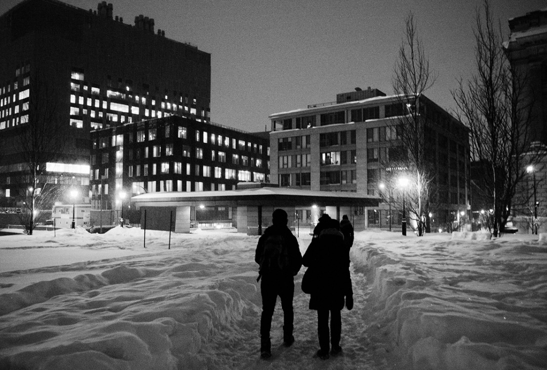 Walking the streets of Montreal after a decent snow fall.December 2012  Converted in Silver Efex pro2