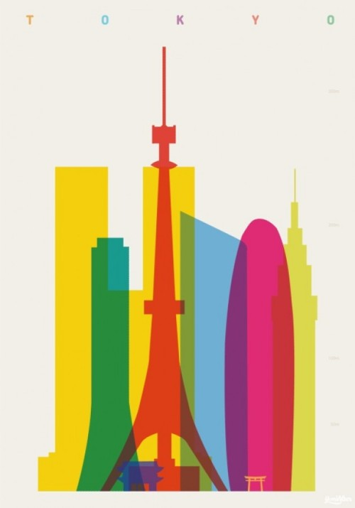Abstract Cityscapes London-based designer and art director Yoni Alter developed this colorful series of posters entitled Shapes of Cities. Each unique creation features a particular city's key buildings and landmarks, clustered together and depicted in an accurate comparative scale. To develop the rainbow palette, Alter combined simple vector shapes with basic color theory. The artist overlapped the transparent layers to successfully achieve a colorful and vibrant display—a series of posters that will add a great deal of style to any wall.