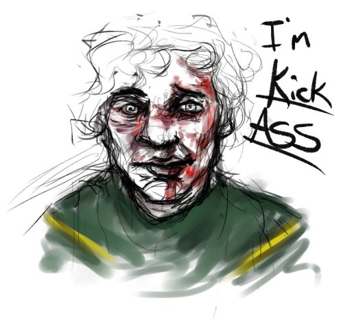 I'm Kick Ass by ~Miss-Lacy sketch I did of Kick Ass! Because I seriously need to start looking off of references more.