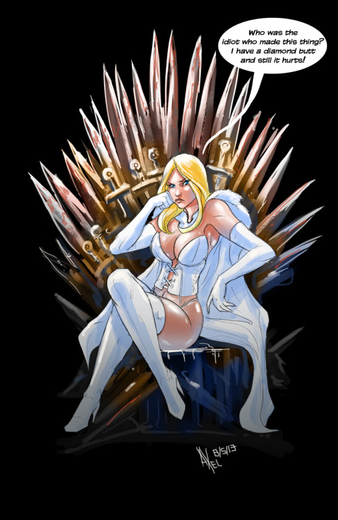 patloika:  Relevant to my interests: Emma Frost on the Iron Throne by Axel Medellin.   Having sat my non-diamomd butt on this thing, I understand.
