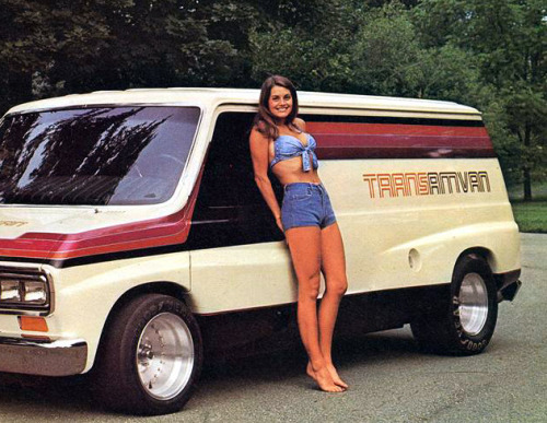 How 1970's. Shaggin' wagon and  denim clad babe.