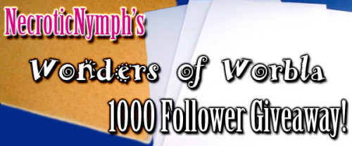 "necroticnymph:  Hello my lovely Tumblr Family! I've reached 1000 followers by my birthday! As such, I'll be doing another giveaway! What you'll win:  ~The Thermoplastic Combo in Large from CosplaySupplies.com This includes: 1 sheet of Wonderflex 43"" x 27"" and 1 sheet of Worbla 29"" x 39"" ~If you're following me, I'll buy you a 4.4oz bottle of Friendly Plastic to go with it, too.  Please read all of the rules before entering. ***There will be only 1 winner!*** Rules: - You must REBLOG this post. LIKES don't count! - You don't need to be following me (but you'll win more stuff if you are!) - No Giveaway blogs allowed…because that's just tacky ;) Side/cosplay-only blogs are okay. - Reblog as much as you want, but let's keep from spamming our friends, hm? Winner Details: - Ask box MUST be open, and you have to be willing to give your address. I'm not a creeper, I promise ;) - Contest ends on May 22nd. I'll announce the winner on May 22nd at 6:30pm EST. - If your ask box isn't open, I'll pick another winner. Winner will be chosen with a random number generator. One stipulation: this post has to reach 1000 notes! Happy blogging, and good luck!!!"