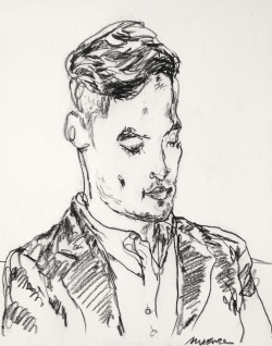 mountvision:  Quick drawing of young man on the 1 train. Gregory Muenzen