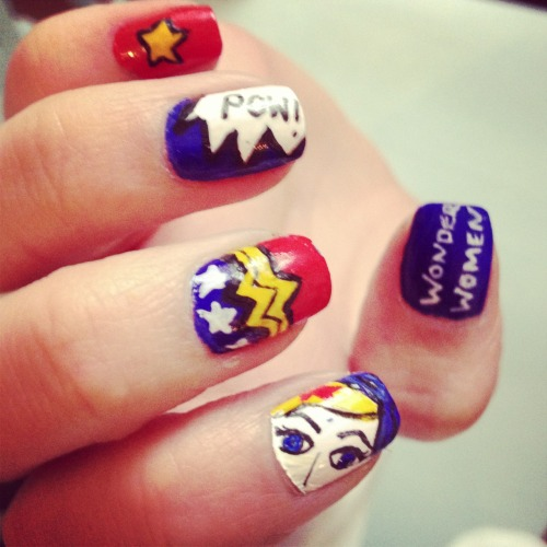 hannahsnailedit:  Wonder women nails. Girl power!