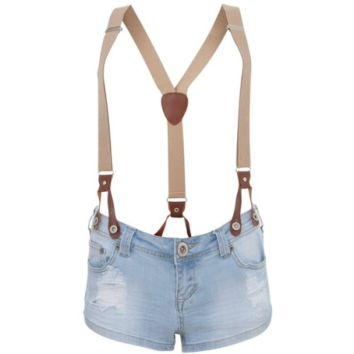 Parisian Light Blue Torn Braces Denim Shorts   ❤ liked on Polyvore (see more torn shorts)