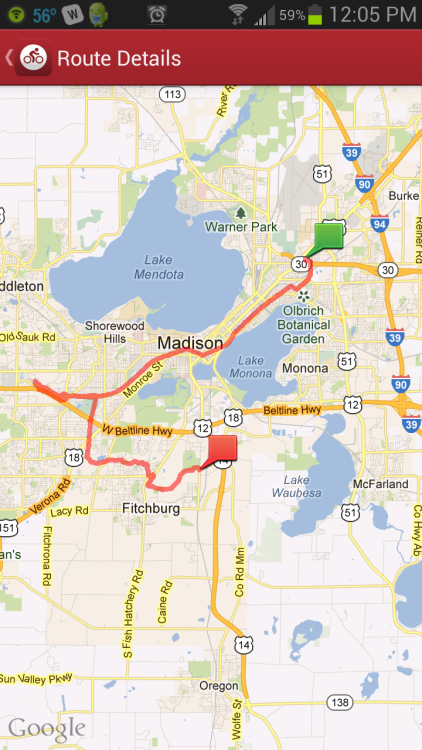 drunkmansdrama:  A map of the 20 miles I did on my bike today. Would have been 32, but I got a flat tire. Fucking kids with their fucking bottles. Little shit bags.