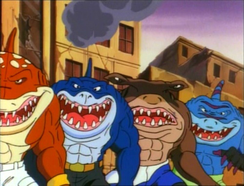 omegashenron:  street sharks goes stupid hard  Whats good with the 90's [;