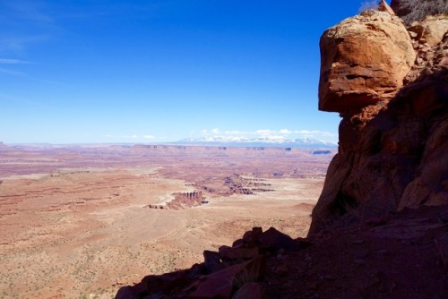 Looking down from high up on the Gooseberry Trail in Canyonlands National Park's Island in the Sky District over the White Rim toward the La Sal Mountains.Photo: Meghan Hicks