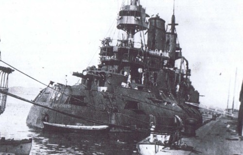 georgy-konstantinovich-zhukov:  The battleship Tsesarevich following the Battle of the Yellow Sea, in which she suffered extensive damage, but managed to evade the pursuing Japanese and find safe shelter in the neutral port of Tsing-Tao, where the ship was interned until the end of the war. Despite 15 hits, only 12 crewmen were killed in the fighting. (US Naval Historical Center)
