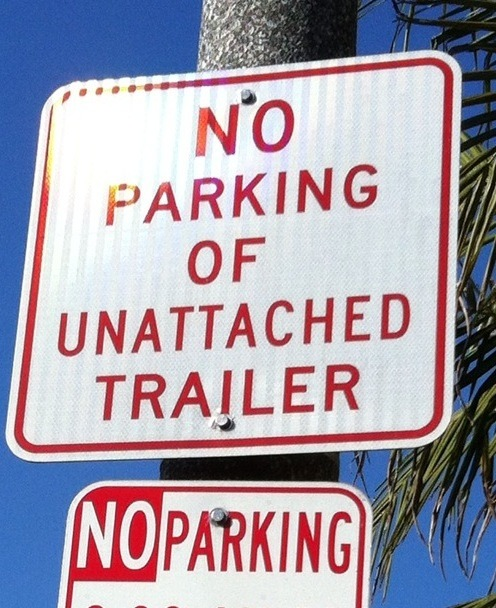 No parking of unattached trailers — apparently a problem in Belmont Shore