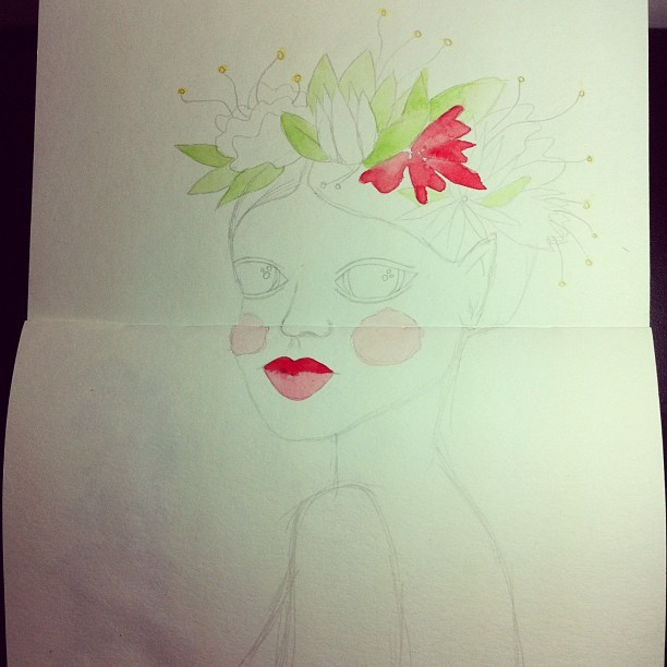 #sketch #doodle #girl #green #face #flowers #crown #hair #leaf #cheek #red #illustration #woman #lips #portrait #spring #body  #watercolor #profile #spirit #beauty #woods #eyes #nymph #sketchbook #draw #free #drawing