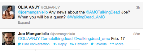 According to Joe, his appearance on The Talking Dead would be on Sun., Feb 17 at 10/9c right after The Walking Dead. Get your DVRs ready, y'all.