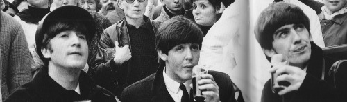 rollover-beethoven:  John, Paul, and George enjoying a drink on the Champs Elysées in Versailles, 1964.