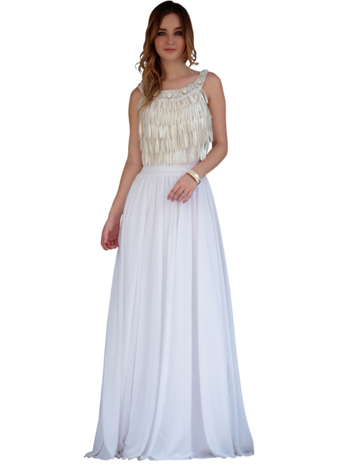MARIEL IN HALTER NECK WEDDING DRESS WITH FRINGE  SKU# 30576 Be the first to review this product Availability: In stock £225.00