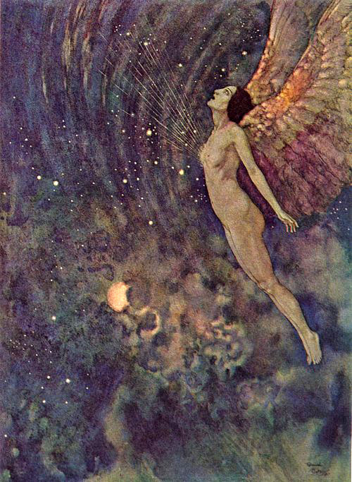 fletchingarrows:  zombienormal:  The Angel israfel, by Edmond Dulac, from The Poems of Edgar Allan Poe, 1912. Via.  edmund dulac, killing it as usual