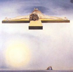 "surrealism:  Easter Sunday Dalí: Gala's Christ, 1978. Oil on canvas, 100 x 100 cm.  Late in his life Dalí turned to Catholicism to cope with his own mortality. It's is one of two images that were intended to be viewed as a stereoscopic pair. Dalí painted these as a gift  for Gala. She hung it in her bedroom in her castle at Púbol.     The castle at Púbol was a summer retreat that Dalí had had built and decorated for Gala so that she could hide away and entertain her numerous lovers in privacy. Dalí - a keen masochist - delighted in the fact that he was only allowed through the gates of Púbol when in possession of a written invitation from his wife. Portraying a auburn-haired young man mystically suspended on a cross in the manner of Dalí's celebrated 1951 painting St John of the Cross, Le Christ de Gala is possibly a portrait of the actor Jeff Fenton - a frequent visitor to Púbol - who had played Christ in the film Jesus Christ Superstar and with whom Gala had been infatuated for many years.1     ""Lot Notes"" (accessed 31 March 2013) Christies.com. ↩"