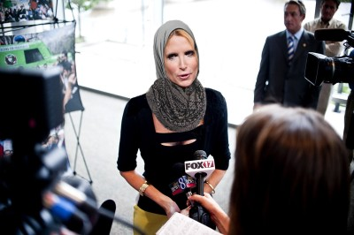 "waichichi:  fatwasandfanboys:  While wearing a hijab, Ann Coulter confirmed Sunday that Dzhokhar (Jahar) Tsarnaev's whiteness doesn't make sense to her. ""White and Muslim is like water and oil. Jesus didn't walk on oil, am I right? Chechnya? More like Chechn-no."" Ann Coulter also told reporters that she wanted to retract her statement about how Katherine Russel, the wife of Jahar's older brother, Tamerlan, should go to prison for wearing a hijab. ""I actually meant she should die in a hijab factory fire. Kidding. You know, I don't know her, and as a kid, I was taught compassion at my Aryan youth camp, so this is my attempt to put myself in her hijab."" Photo credit Zack Schuster.   What. The actual. Fuck."