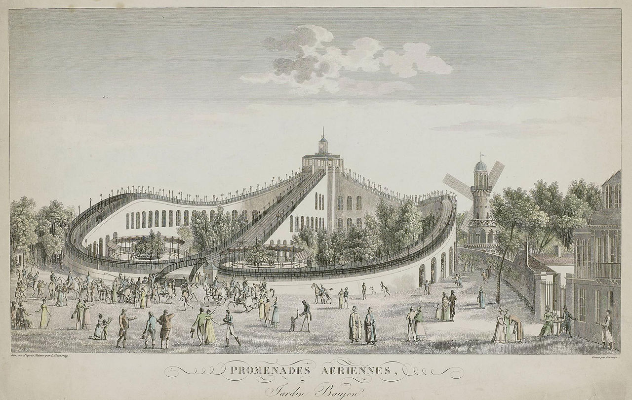 The Promenades Aériennes roller coaster at the Folie Beaujon in 1820, Paris