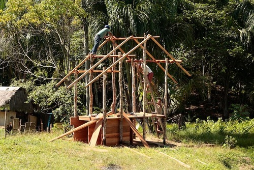building roof structure for composting toilet