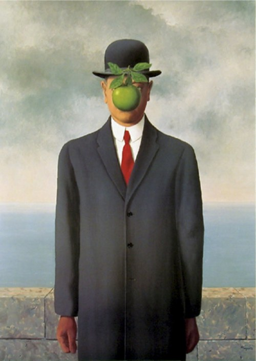 "spyriak:  The son of man by René Magritte, 1964 ""At least it hides the face partly. Well, so you have the apparent face, the apple, hiding the visible but hidden, the face of the person. It's something that happens constantly. Everything we see hides another thing, we always want to see what is hidden by what we see. There is an interest in that which is hidden and which the visible does not show us. This interest can take the form of a quite intense feeling, a sort of conflict, one might say, between the visible that is hidden and the visible that is present."""