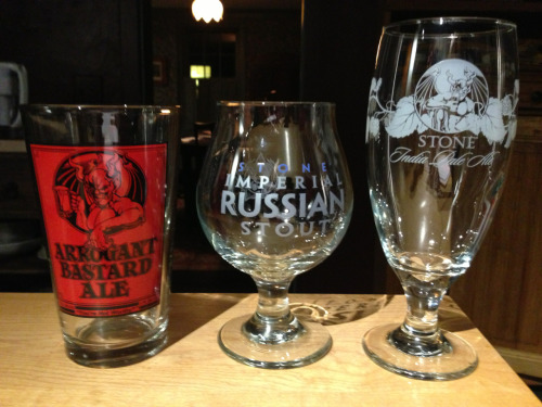 drewbeered:  #glassporn  Beautiful beer glasses from Stone Brewery