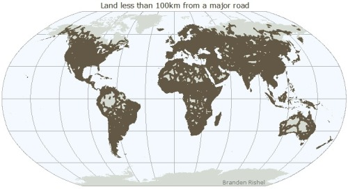 cartographerswithoutborders:  You'll probably never travel far from a major road, unless you try hard.  Are there now roads to all hospitable places?