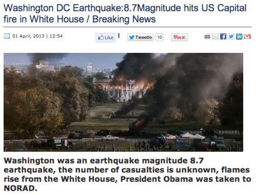 Turkish News Site Reports Destruction Of Washington, D.C. In Disturbingly Straightforward April Fools' Story This was the Turkish media's idea of a cool April Fool's Day story. It would have been funnier if the White House did it.