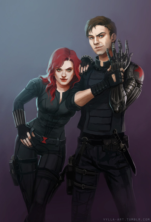 vylla-art:  vylla-art:  Black Widow and Winter Soldier. Probably picking targets, judging by the expressions… poor, poor targets…  Prints of this are now for sale on Society 6! All proceeds going to the Repair My Car Fund, as half of the engine seems to have died at once. I will be posting more things over there as the website and time allows so if you guys have a specific picture you'd like to see on there sooner rather than later, drop me a line!
