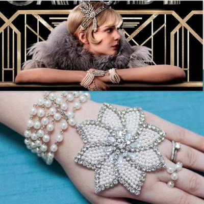 truebluemeandyou:  DIY Great Gatsby Pearl Bracelet Applique and Ring Combination Tutorial from M&J here. A great place to find less expensive appliques is in the bridal section of fabric and craft stores. My first clothing splurge was on an authentic 1920s peacock motif beaded dress that I will post when I take a photo that does it justice.  For more panja/handpiece type jewelry go here: truebluemeandyou.tumblr.com/tagged/handpiece
