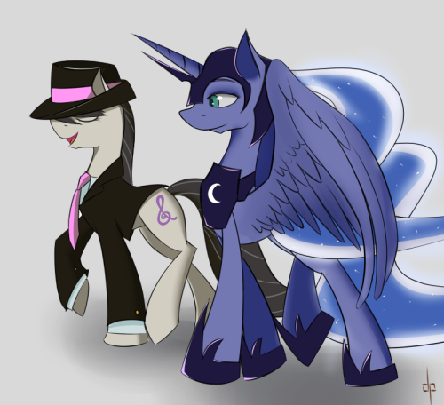 dream-phoenix:  Mafia Octavia and Dreamwarden Luna. For Zedrin who is butt and complained that nobody draws Gangsta Tavi and badass moon poneh fanart.  But both of them together? IN YOUR DREAMS!  ((I freakin' love your style man))