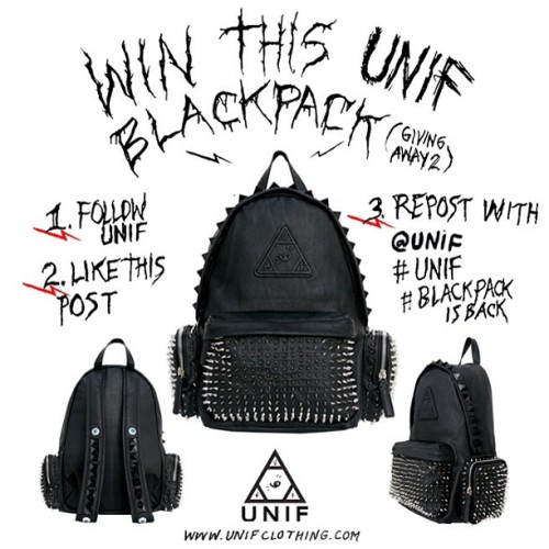 unif:  Giving away 2 Blackpacks. 1. Follow @UNIF  2. Like this pic  3. Repost with @unif #UNIF #Blackpackisback