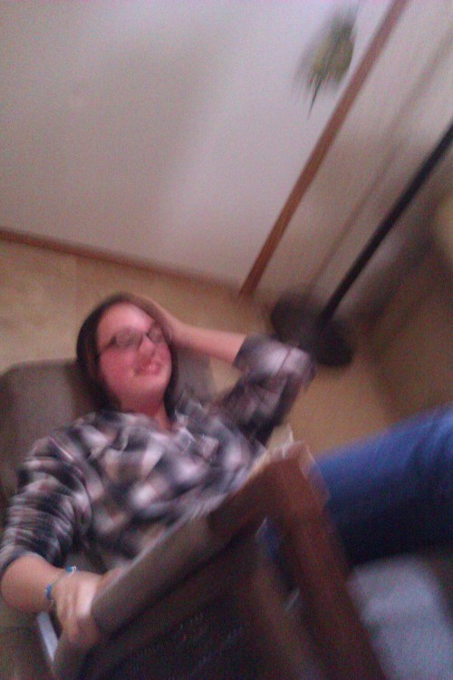 You can't really tell, but my step dad pushed my chair over. While I was laughing my little sister yelled photo opp and took a picture. Here you go.