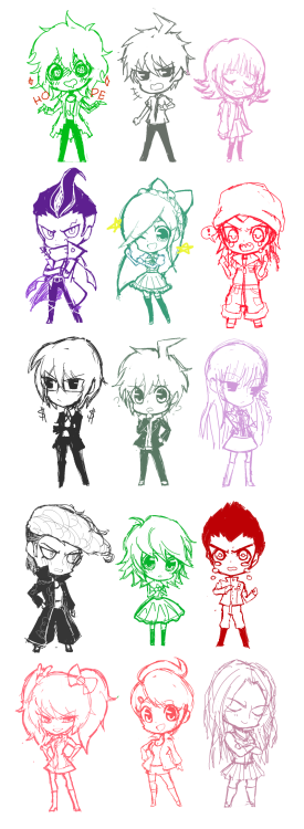 Apologizing for the looong image, here's a wip for my DR/SDR2 stuff, they'll probably be keychains and/or stickers or something? I knowww I'm missing quite a few characters but I don't intend to draw the entire cast, I just picked the ones I like the most and did them in sets of three. I'll gladly take suggestions though if anyone really wants to see another character!  btw these'll be for animenext and otakon!