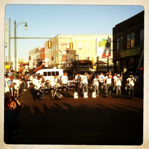 The Grizzlies drumline at the pre-game pep rally on Beale Street