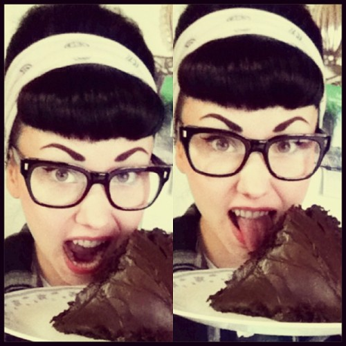 Chocolate wasted!!! I love cake! #chocolatecake #happypregnantbroad #pinupmomma #pinup #rockabillygirl