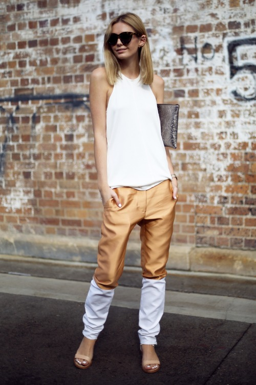 what-do-i-wear:  Ellery pants, T by Alexander Wang top, Sam Edelman sandals, Reece Hudson clutch, Karen Walker sunglasses, Michael Kors watch, Ryan Storer ear pieces,Ileana Makri rings, Jacquie Aiche rings. (image: tuulavintage)