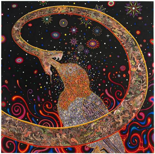 "darksilenceinsuburbia:  Fred Tomaselli. Penetrators, 2012. Photo collage, acrylic, resin on wood panel, 72 x 72""."