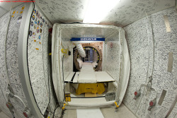 The interior of the space shuttle Endeavour - signed by everyone who worked on it, Ronald Reagan and Clint Eastwood Photo credit: Ben Cooper
