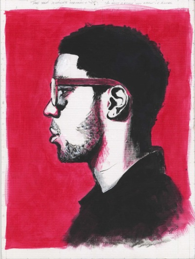 Kid Cudi portrait painting. Acrylic and Ink. Went ahead and left my notes to myself at the top haha