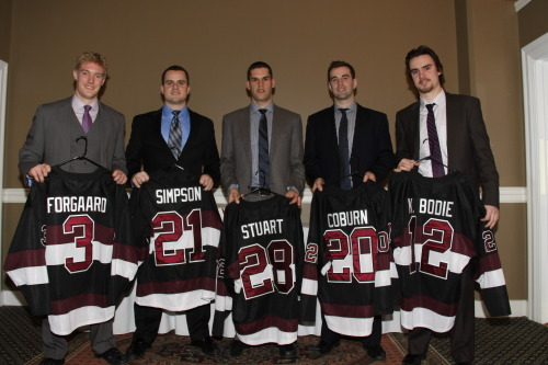 The Union Hockey Class of 2013 poses at the end of the awards banquet last night.
