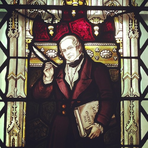 atlasobscura:  1920s stained glass of Washington Irving in Sleepy Hollow. #dailyadventure (at Sleepy Hollow Cemetery)