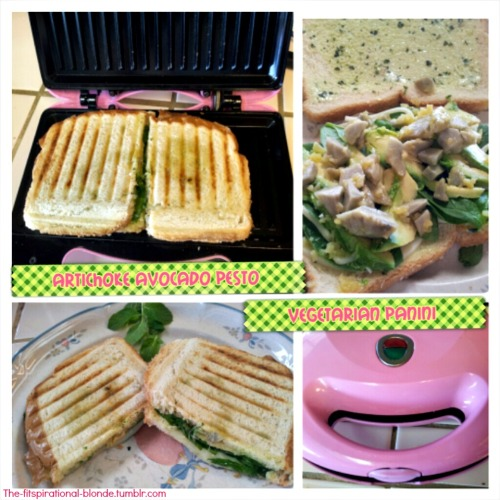 Vegetarian Panini- Artichoke Avocado Garlic-Pesto SUMMER IS RIGHT AROUND THE CORNER!! What does that mean from all of us Fitblrs? That we need to put the hot pockets and greasy pizza on a shelf for good, and pick up some veggies. I made this beautiful and healthy panini in about 10 minutes and it was mouthwateringly delicious. Easy Ingredients Chopped up FRESH artichoke hearts, that I let soak in pan cooked garlic for 5 minutes (messages me if you'd like the recipe for this) Avocado slices Spinach Provolone cheese slices (sliced thin)  Sourdough bread Pesto  I made it into a panini because all those ingredients made it a bit big to squeeze in my little mouth. Also, I'm still head over heels in love with my PINK panini makes. I use it whenever I get the opportunity.  So easy, so healthy, so packed with nutritional ingredients and SO DELICIOUS! Xox Brittany,                  THE-FITSPIRATIONAL-BLONDE