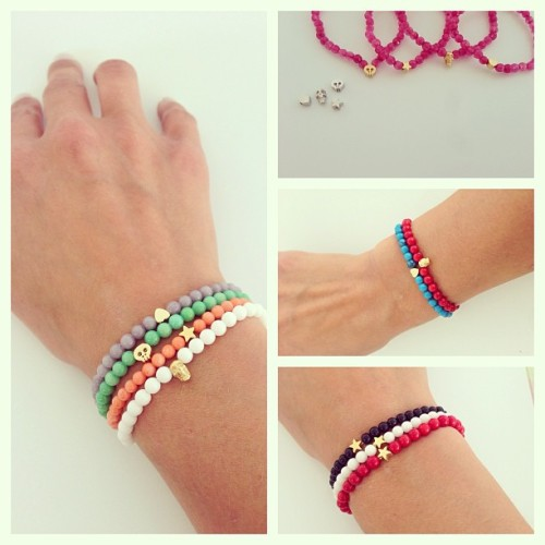 New at the store! Semi precious stones bracelets, perfect for layering this Summer. Make your mix! Itscalledserendipity.etsy.com #jewelry #jewellery #charms #bracelets #pulseiras #etsy #etsyshop #etsystore #bijuteria #skull #heart #star